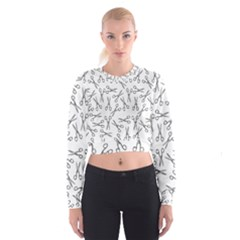 Scissors Pattern Cropped Sweatshirt