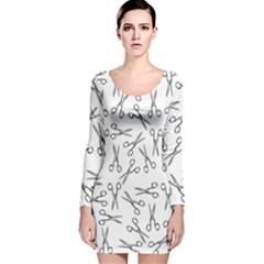 Scissors Pattern Long Sleeve Velvet Bodycon Dress