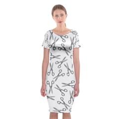 Scissors Pattern Classic Short Sleeve Midi Dress