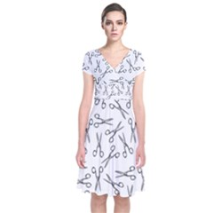 Scissors Pattern Short Sleeve Front Wrap Dress