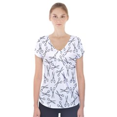 Scissors Pattern Short Sleeve Front Detail Top
