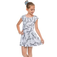 Scissors Pattern Kids Cap Sleeve Dress