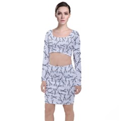 Scissors Pattern Long Sleeve Crop Top & Bodycon Skirt Set