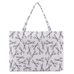 Scissors Pattern Zipper Medium Tote Bag