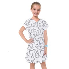 Scissors Pattern Kids  Drop Waist Dress