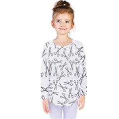 Scissors Pattern Kids  Long Sleeve Tee