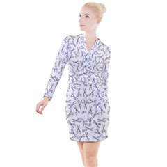 Scissors Pattern Button Long Sleeve Dress