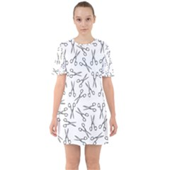 Scissors Pattern Sixties Short Sleeve Mini Dress