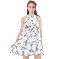 Scissors Pattern Halter Neckline Chiffon Dress