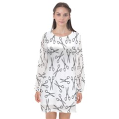 Scissors Pattern Long Sleeve Chiffon Shift Dress