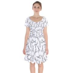 Scissors Pattern Short Sleeve Bardot Dress