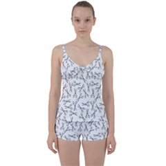 Scissors Pattern Tie Front Two Piece Tankini
