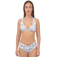 Scissors Pattern Double Strap Halter Bikini Set