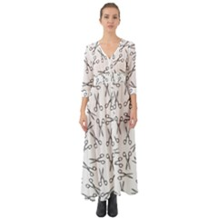 Scissors Pattern Button Up Boho Maxi Dress