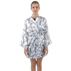 Scissors Pattern Long Sleeve Kimono Robe