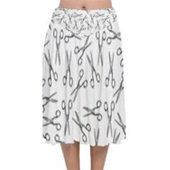 Scissors Pattern Velvet Flared Midi Skirt