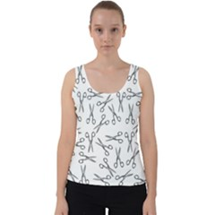 Scissors Pattern Velvet Tank Top