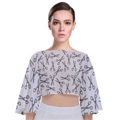 Scissors Pattern Tie Back Butterfly Sleeve Chiffon Top