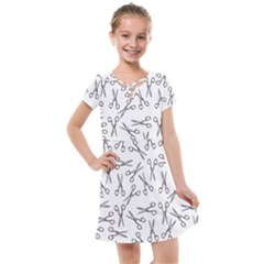 Scissors Pattern Kids  Cross Web Dress