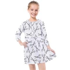 Scissors Pattern Kids  Quarter Sleeve Shirt Dress