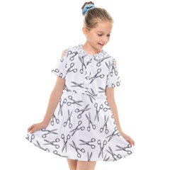 Scissors Pattern Kids  Short Sleeve Shirt Dress