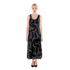 Scissors Pattern Sleeveless Maxi Dress