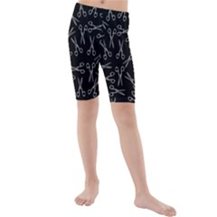 Scissors Pattern Kids  Mid Length Swim Shorts