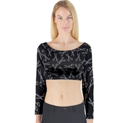 Scissors Pattern Long Sleeve Crop Top