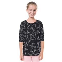 Scissors Pattern Kids  Quarter Sleeve Raglan Tee