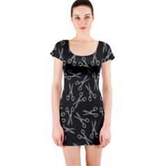 Scissors Pattern Short Sleeve Bodycon Dress