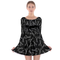 Scissors Pattern Long Sleeve Skater Dress
