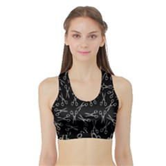 Scissors Pattern Sports Bra With Border