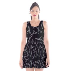 Scissors Pattern Scoop Neck Skater Dress