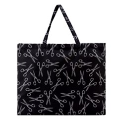 Scissors Pattern Zipper Large Tote Bag