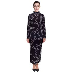 Scissors Pattern Turtleneck Maxi Dress