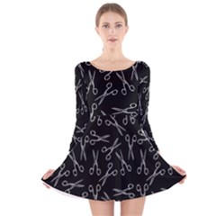 Scissors Pattern Long Sleeve Velvet Skater Dress