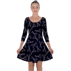 Scissors Pattern Quarter Sleeve Skater Dress