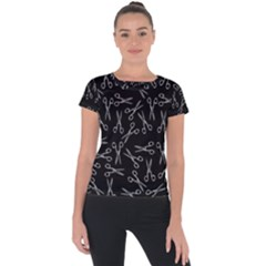 Scissors Pattern Short Sleeve Sports Top