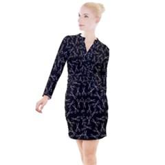 Scissors Pattern Button Long Sleeve Dress