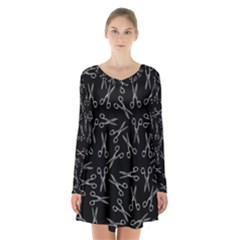 Scissors Pattern Long Sleeve Velvet V Neck Dress