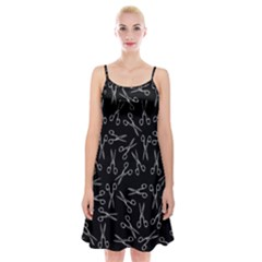 Scissors Pattern Spaghetti Strap Velvet Dress