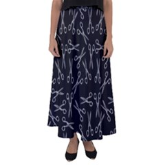 Scissors Pattern Flared Maxi Skirt