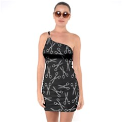 Scissors Pattern One Soulder Bodycon Dress
