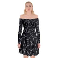 Scissors Pattern Off Shoulder Skater Dress