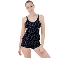 Scissors Pattern Boyleg Tankini Set