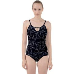Scissors Pattern Cut Out Top Tankini Set