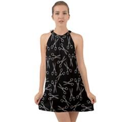 Scissors Pattern Halter Tie Back Chiffon Dress