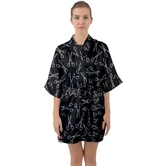 Scissors Pattern Quarter Sleeve Kimono Robe