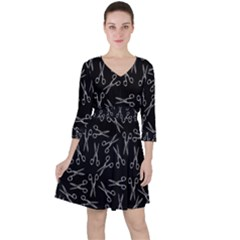 Scissors Pattern Ruffle Dress