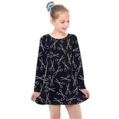 Scissors Pattern Kids  Long Sleeve Dress